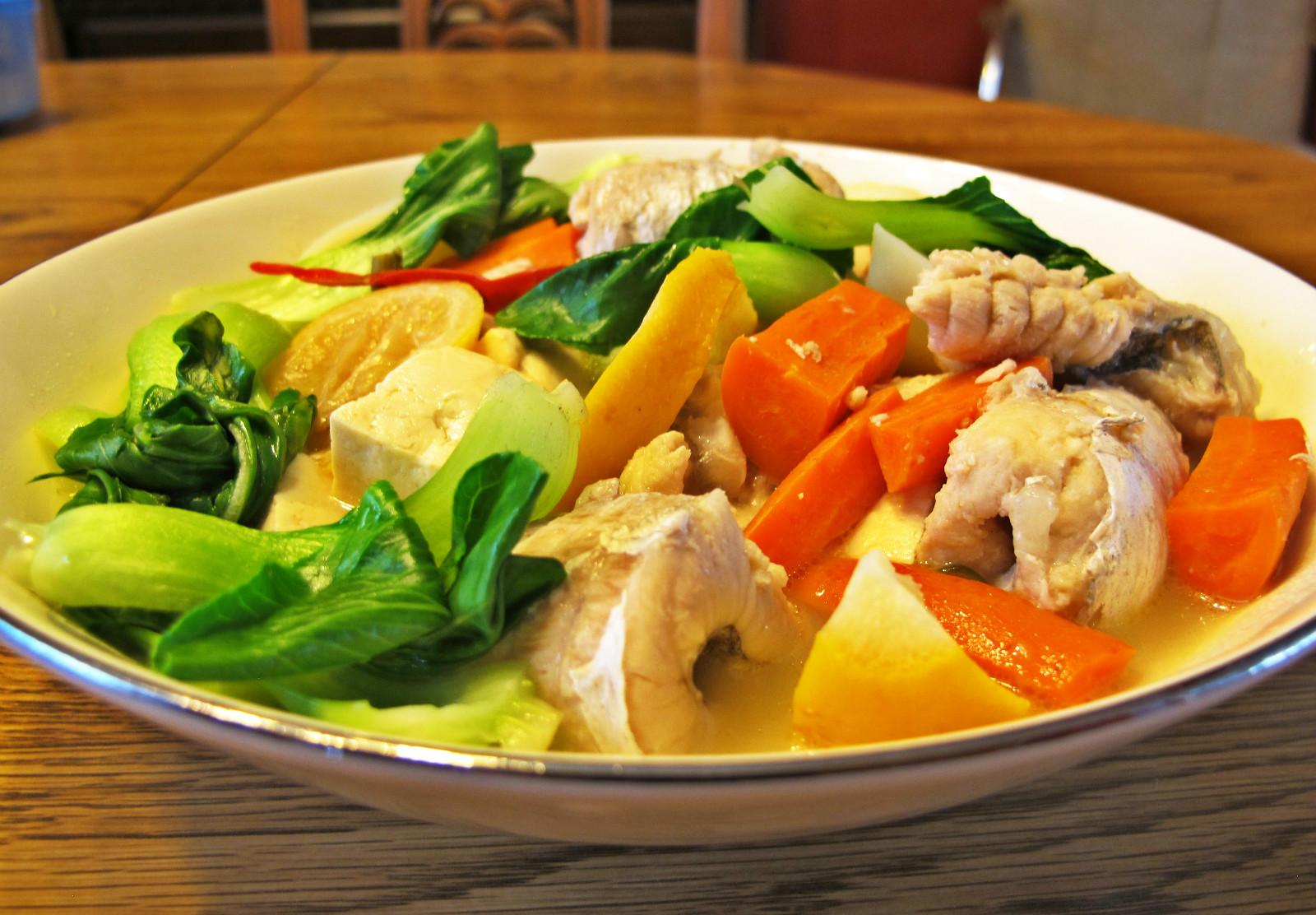 Lemon fish with tofu dish