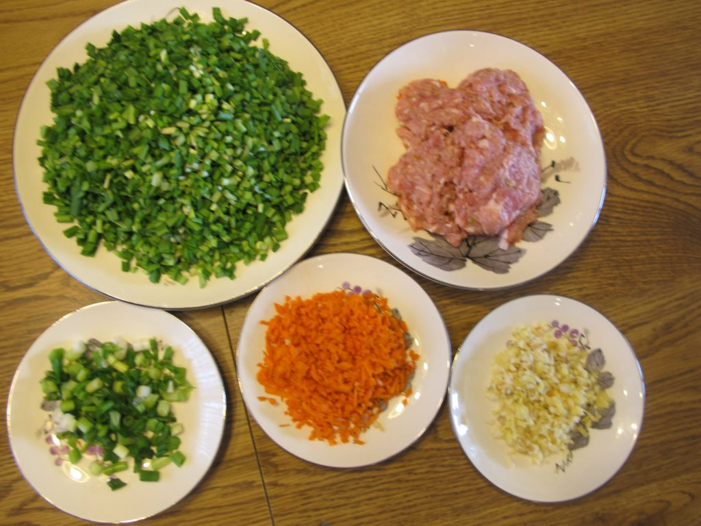 ingredients for pork chive dumplings