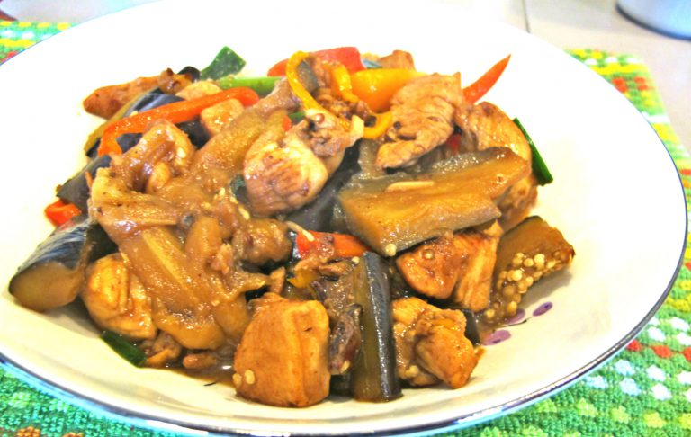 Fried Eggplant with Chicken
