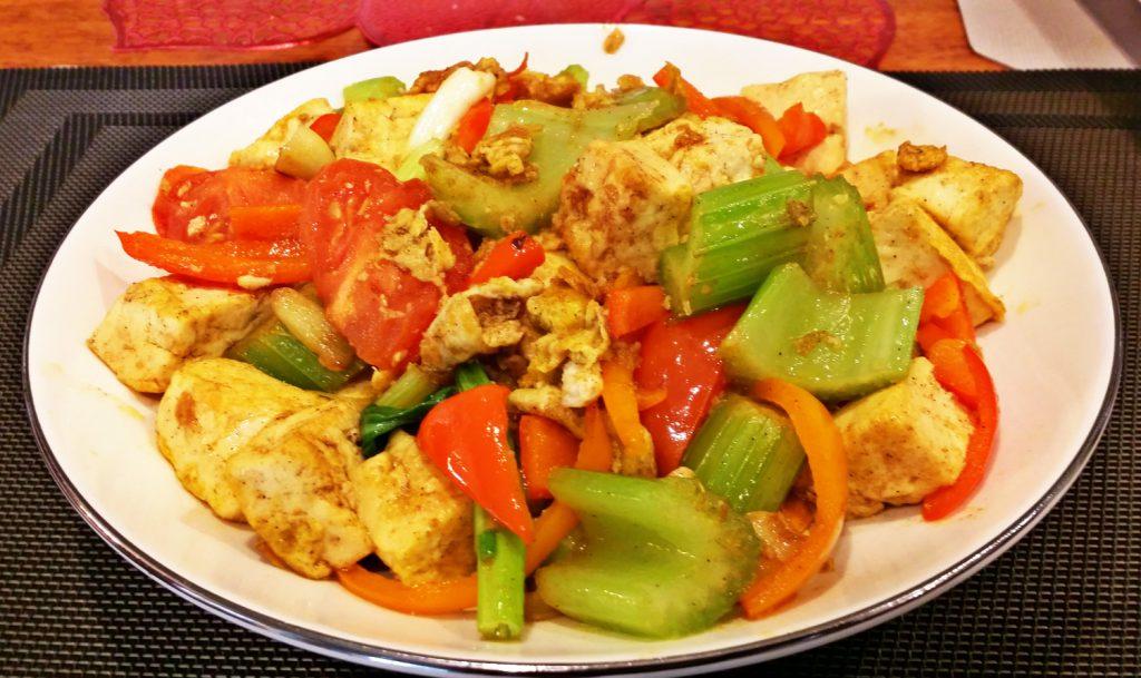 egg tofu veggie plate