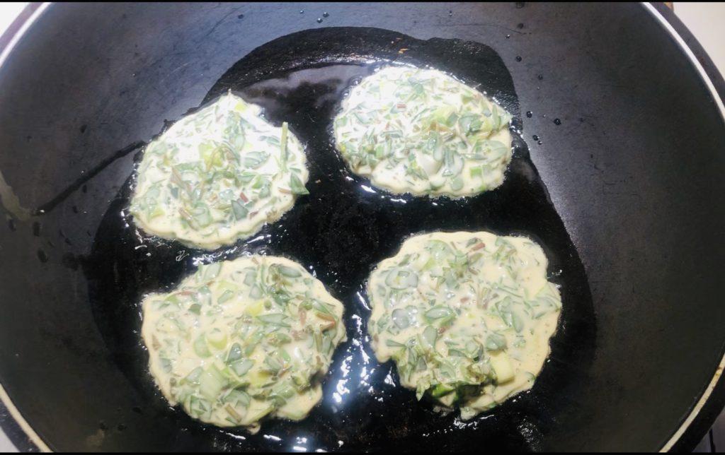Purslane Pancakes cooking
