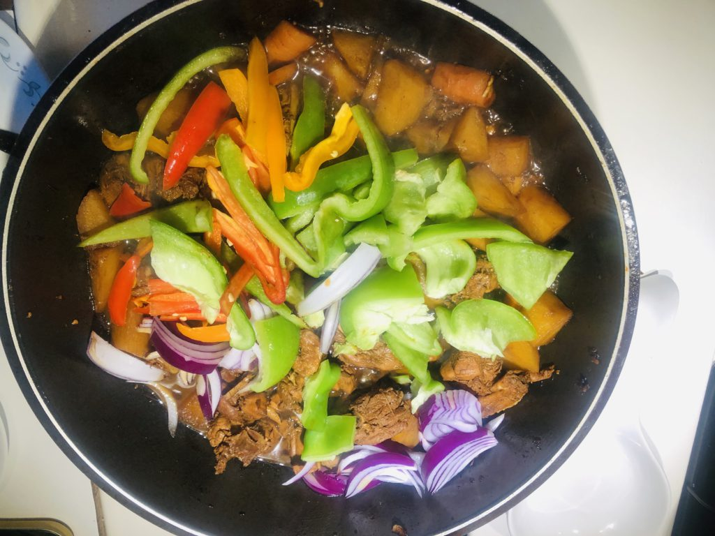 Add Onion, Green Pepper, Red and Yellow Peppers, Adjust Taste